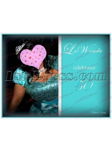Green and Black Long Terrific 15 Quinceanera Dresses review image