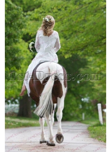 Country Fringe Western Wedding Gowns with Long Sleeves IMG_3424 review image
